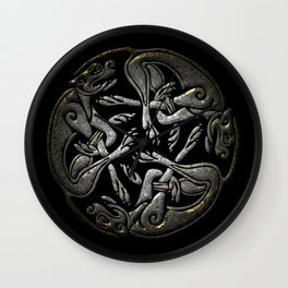 Ancient silver Celtic dogs traditional ornament Wall Clock