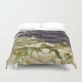 Lavender on gypsophila Duvet Cover