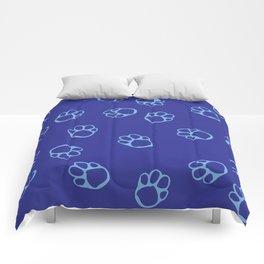 Blue Paw Print Pattern Comforters