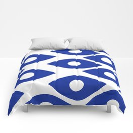 Blue and White Pattern Fish Eye Design Comforters