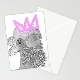 King_white/pink crown Stationery Cards