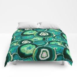 Geode Slices No.1 in Emerald + Malachite Green Comforters