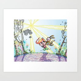 Laughing Along the Path - One Boy and a Toy Art Print