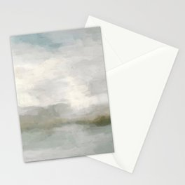 Modern Abstract Painting, Light Teal, Sage Green, Gray Cloudy Weather Digital Prints Wall Art, Ocean Stationery Cards