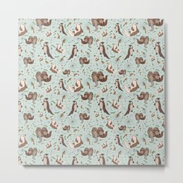 Cute Sea Otters Metal Print