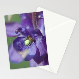 Fluid Nature - Green Jewel In Purple Flower Stationery Cards