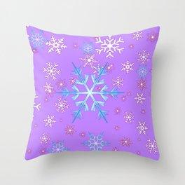 LILAC PURPLE WINTER SNOWFLAKES Throw Pillow