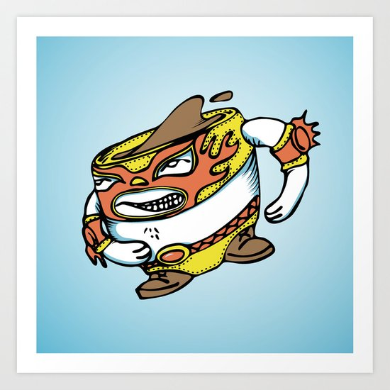The flying luchador mug of coffee Art Print