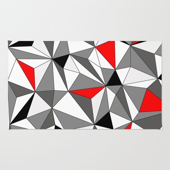 Geo - red, gray, black and white Rug