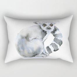 Ring-tailed Lemur Watercolor Rectangular Pillow