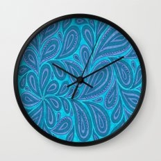 Blue and Blue Wall Clock