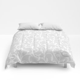Pastel gray white abstract vintage damask pattern Comforters