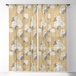 Glam Florals - Gold Sheer Curtain