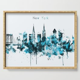 New York Monochrome Blue Skyline Serving Tray