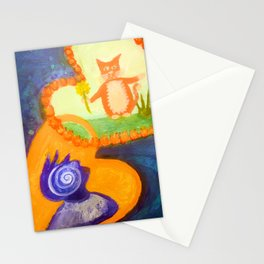 mutual guardians - cat and human Stationery Cards