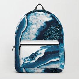 Blue White Agate with Blue Glitter #1 #gem #decor #art #society6 Backpack