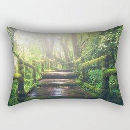 Green Jungle Forest Path Rectangular Pillow