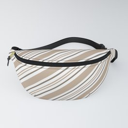 Pantone Hazelnut Nutmeg and White Thick and Thin Angled Lines - Stripes Fanny Pack