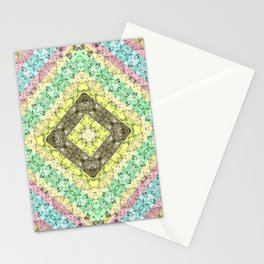 Colorful abstract pattern, patchwork, multicolored, plaid 2 Stationery Cards
