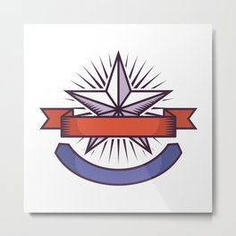 Logo With American Flag Colors and Symbols Metal Print