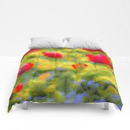 English Summer Flowers Pastel Art Comforters
