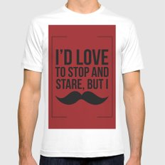 Stop and Stare Moustache  Mens Fitted Tee White MEDIUM