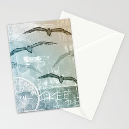 Free Like A Bird Seagull Mixed Media Art Stationery Cards