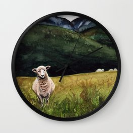 Sheep on a Hill Wall Clock