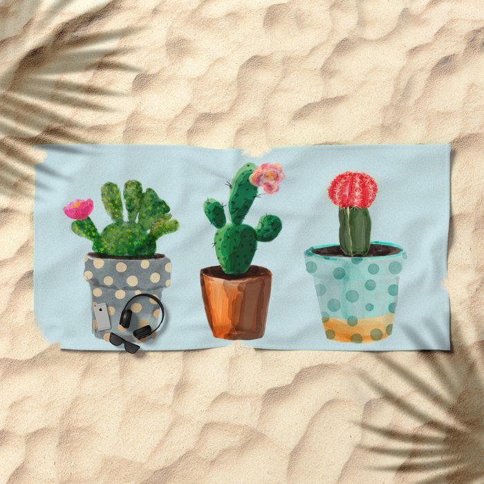 Three Cacti With Flowers On Light Blue Background Beach Towel