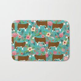 Hereford Cattle breed floral farm homestead gifts cow art florals Bath Mat