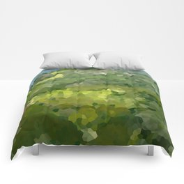 Mountain Forest Green Life Adventure Comforters