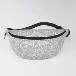 White Mandala on Grey Linen Fanny Pack