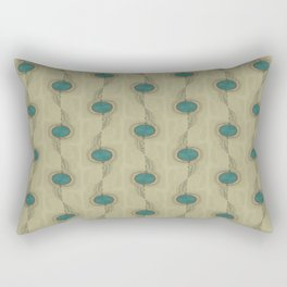 Abstract Peacock Feathers Teal Turquoise Circles Pattern Modern - Corbin Henry Rectangular Pillow