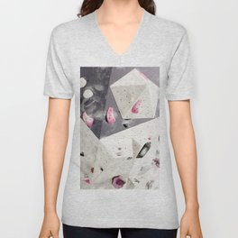 Geometric abstract free climbing gym wall boulders pink white Unisex V-Neck