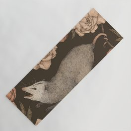 The Opossum and Peonies Yoga Mat