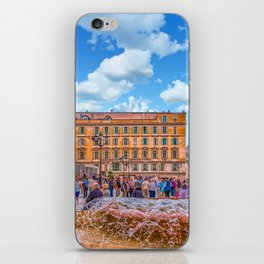 People in Nice Plaza with Fountain iPhone Skin