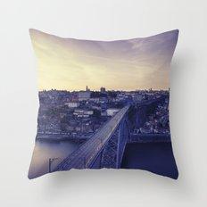 Porto across the bridge. Throw Pillow