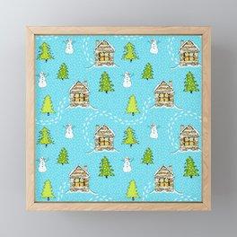 Alpine Ski lodge on Turquoise Framed Mini Art Print