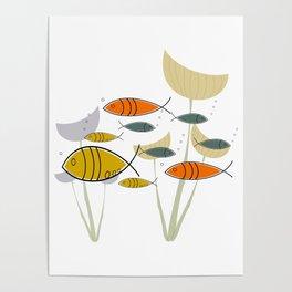Mid Century Modern Fish, Marine Life Poster