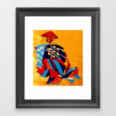 japanese men in traditional clothes Framed Art Print