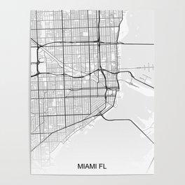 Miami street map Poster