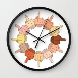 Multicultural Middle Fingers Wall Clock