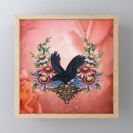 Wonderful crow with flowers Framed Mini Art Print