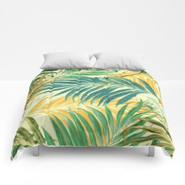 Palm Leaves in Yellow Comforters