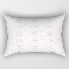 Geometrical abstract living coral  white floral Rectangular Pillow