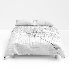 Minimal City Maps - Map Of Fresno, California, United States Comforters