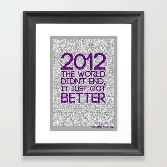 2012...It Was Emotional Framed Art Print