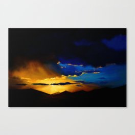 Painting of a landscape with mountains Canvas Print