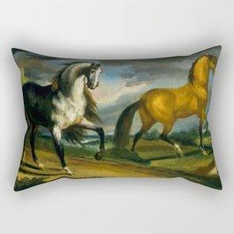 "Théodore Géricault ""Two Horses"" Rectangular Pillow"