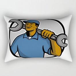 African American Mechanic Mascot Rectangular Pillow
